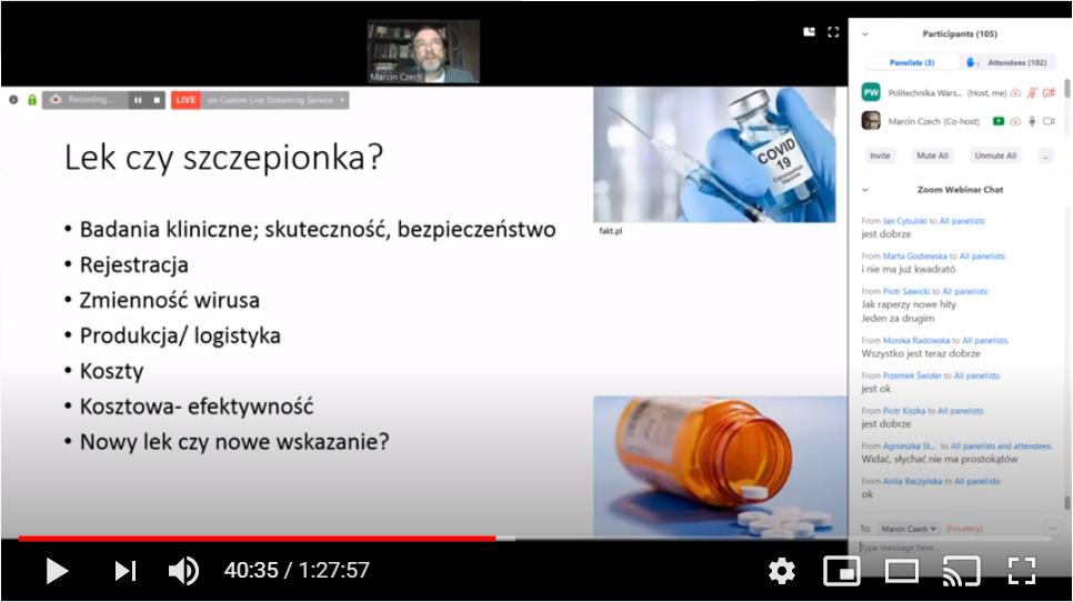 Pandemia COVID-19, jak widzi to sam wirus? - spotkanie online z prof. Marcinem Czechem